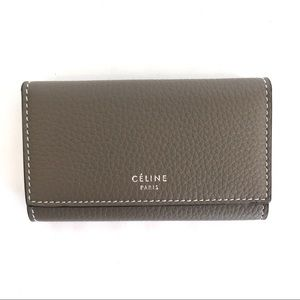 NIB Celine leather keycase mini wallet, taupe